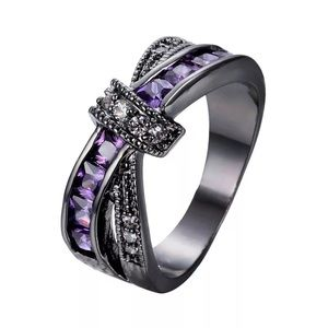 Black Gold Purple & CZ Knot Ring